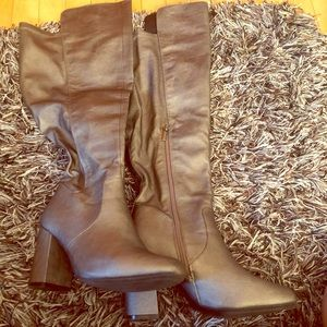 Ashley Stewart Pewter Block Heel Knee High Boots